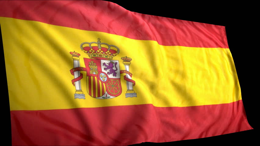 Animated Spanish flag.  The clip contains an alpha channel.