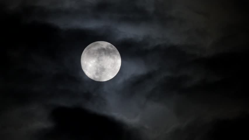 Timelapse with moon moving between clouds | Shutterstock HD Video #6333488