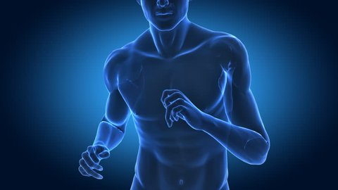 Runing man in x-ray with cardio data projection - fitness concept in loop --- Similar videos in my portfolio ---
