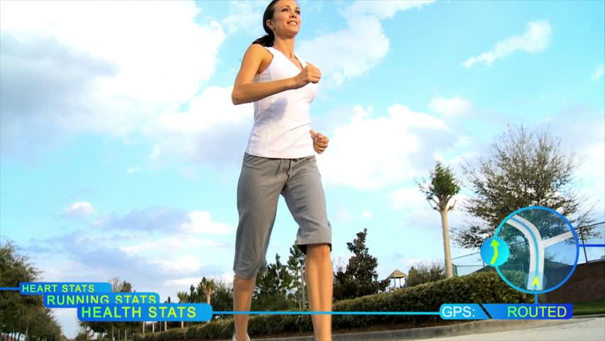 CG motion graphics animation running female display information - CG animated running statistics monitor distance run by female runner training on road