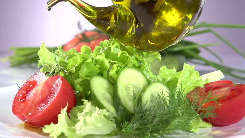 Healthy Vegetable Salad With Olive Oil Dressing Pouring Olive Oil Lettuce Tomatoes