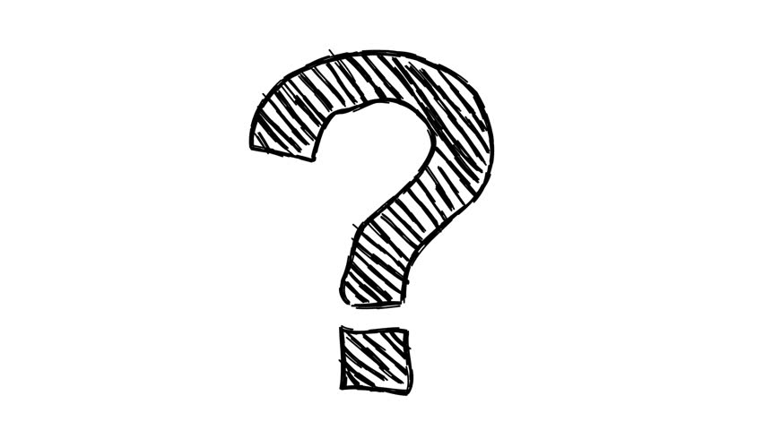 Loopable hand-drawn animated cartoon doodle question mark on white background | Shutterstock HD Video #6441428