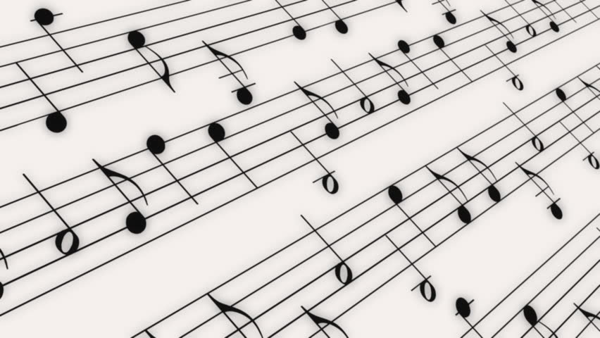 Music Notes Backgrounds: Music Notes Flowing On White Background. Seamless