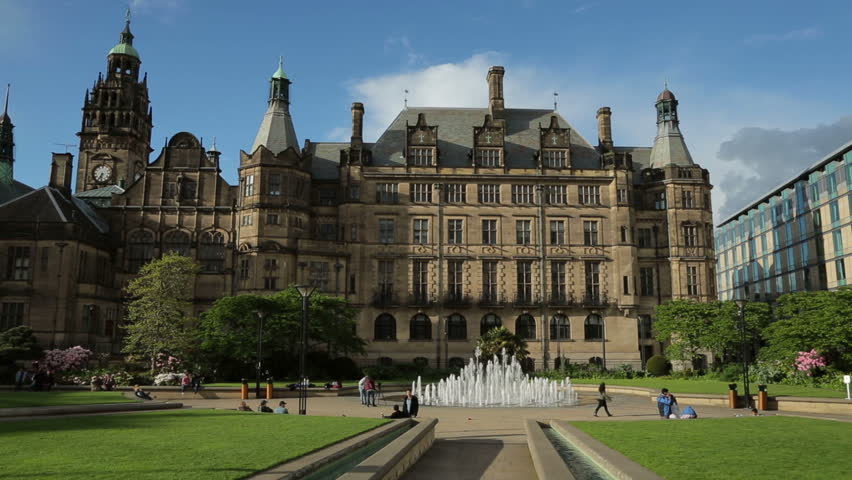 sheffield peace gardens fountain and town hall south yorkshire england stock footage video. Black Bedroom Furniture Sets. Home Design Ideas