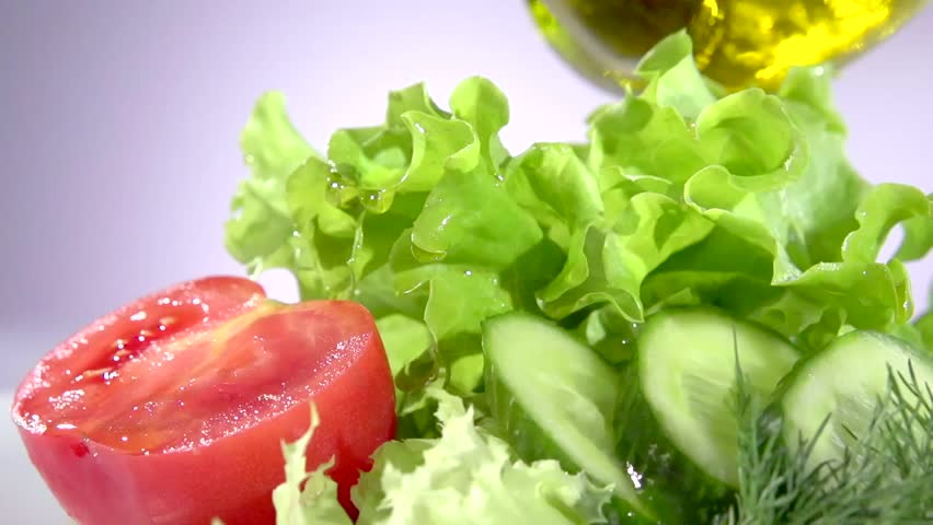 Healthy Vegetable Salad With Olive Oil Dressing Pouring Olive Oil Lettuce Tomato