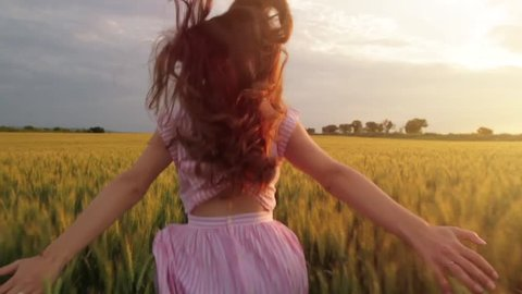 Vintage Dress Woman Slow Motion Wheat Field Running
