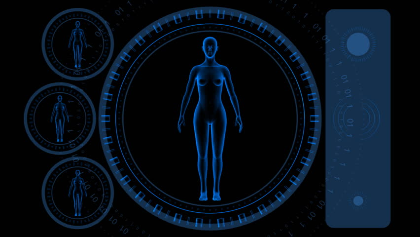 Woman Scan Screen - Hi-tech 12 (HD) - 3D animation. Medical, scientific, sci-fi, crime or hi-tech background. Screen with spinning woman body and rings. Alpha included. Loop.