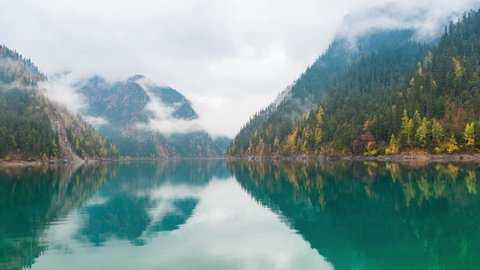 beautiful long lake at jiuzhaigou, Jiuzhaigou is a nature reserve famous for its colorful lakes located in the Tibetan-Qiang, Sichuan,China. time lapse photography
