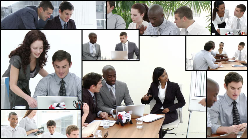 Montage footage of Business team at work