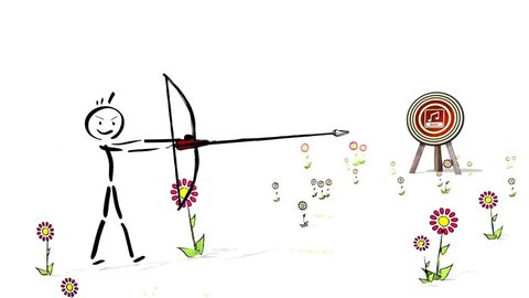 hit the score of a archery wav sign target. A Stick man with bow shoots three arrows on a target. footage HD 1080p 3d animation with white background in childish drawing style
