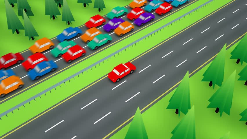 Loopable following shot of a red car travelling in the empty side of a divided highway while the other direction has bumper to bumper traffic. | Shutterstock HD Video #6583028