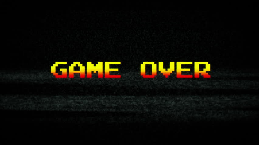 High Definition CGI motion backgrounds ideal for editing, led backdrops or broadcasting featuring a retro GAME OVER text on noise TV textured background.