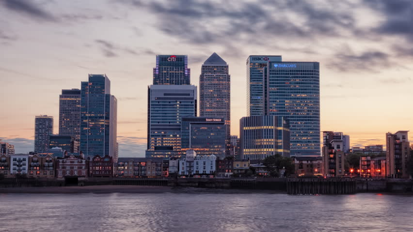 Canary Wharf at dusk, Famous skyscrapers of London's financial district at twilight. 4k, 1920x1080, bank, background, timelapse