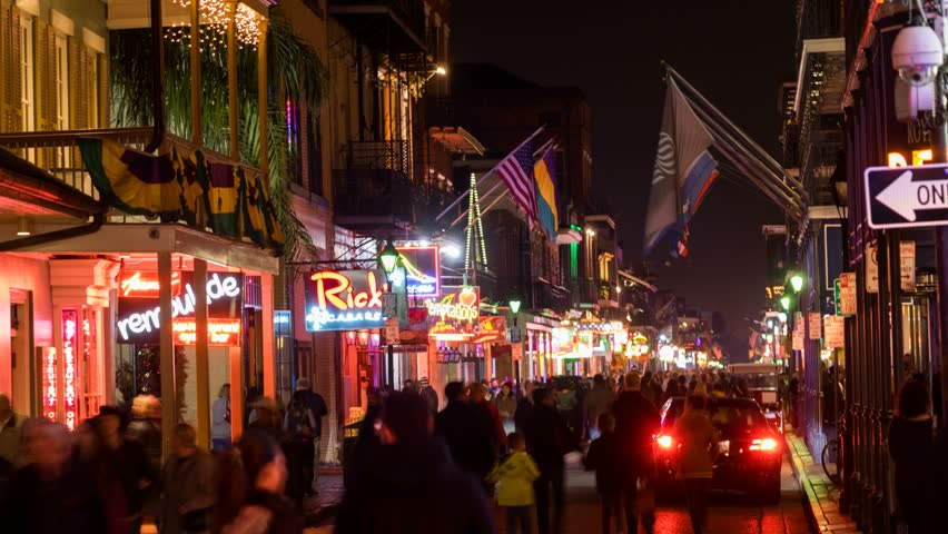 NEW ORLEANS - 31 JAN: Timelapse view of Bourbon Street from above. Bourbon Street is a popular entertainment area that attracts visitors from all over the world on 31 January 2014 in New Orleans, USA | Shutterstock HD Video #6603848