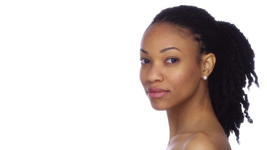 Close Up Of Attractive Black Female With Gentle Smile On White Background Portrait Of -2400