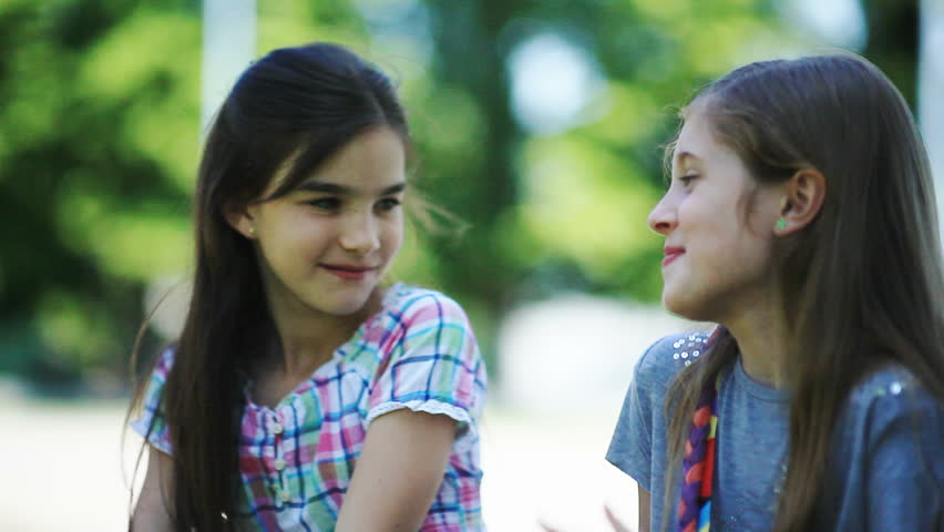 Two Little Girls Whispering Secrets Stock Footage Video -3815