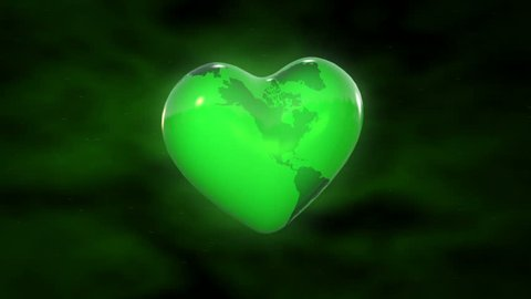 A heart shaped planet earth spinning in space highlighting green and environmental issues. Seamless looping animation