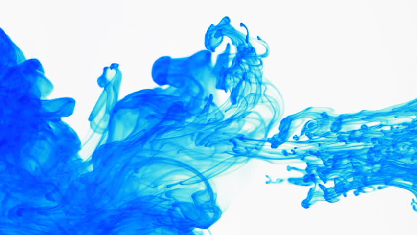 Blue Colored Ink Dropped Into Water, Shot At 60fps And Slowed to 30fps In Post. Shot With A Canon 7D