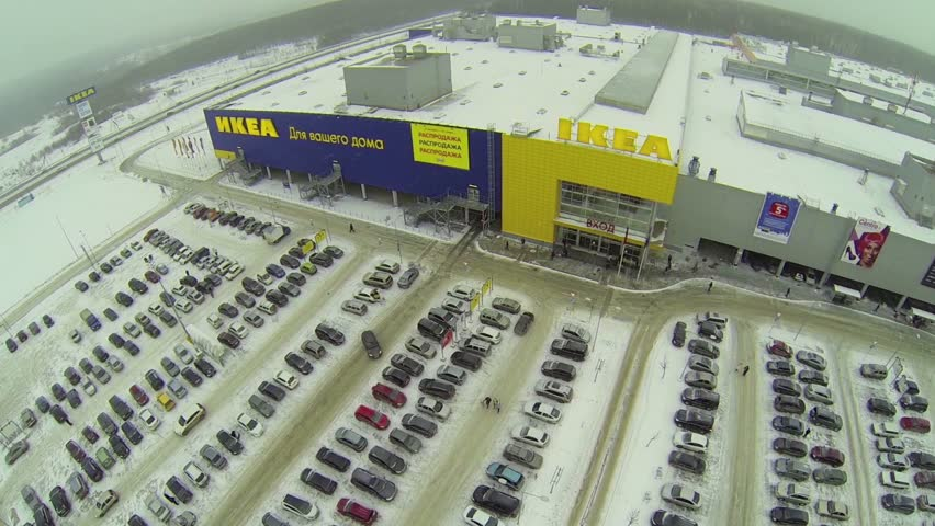 russia samara jan 5 large car parking near trade center ikea at winter day aerial view stock footage video