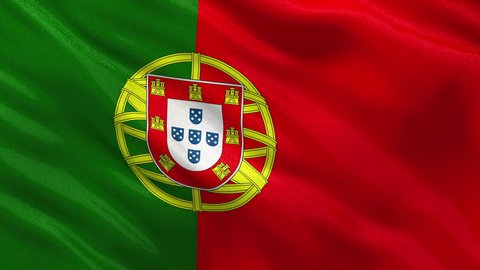 Flag of Portugal gently waving in the wind. Loop ready file with highly detailed fabric texture.