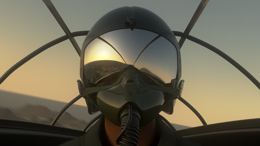 Footage Of Pilot Wearing Mask And Helmet In Cockpit Of Fighter Jet. 686_b