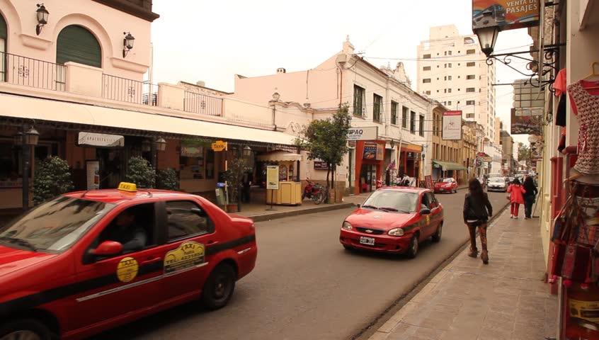 SALTA, ARGENTINA - APRIL 05: Street scene in the center of Salta on April 05, 2013 in Salta, Argentina.