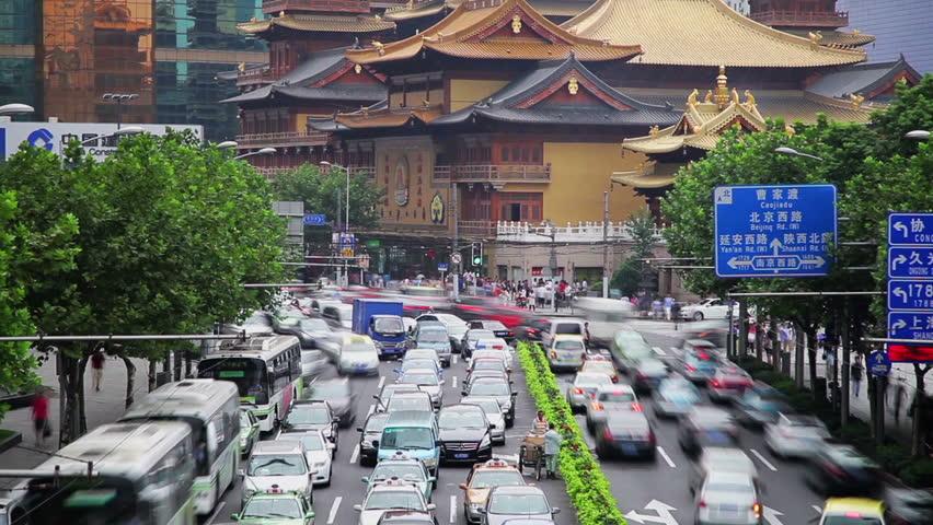Timelapse of rush hour traffic in Jingan District , Shanghai, China