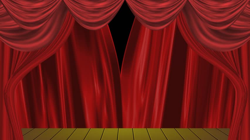 Velvet stage curtains - High Definition Clip Of An Opening Red Stage Curtain