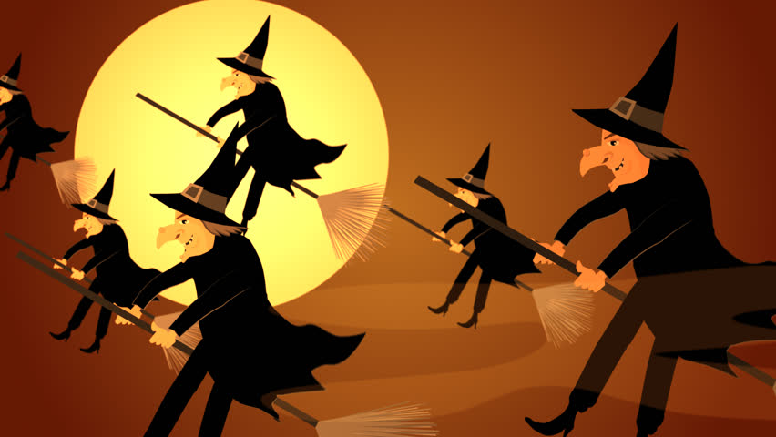 01611 halloween witches flying on a broomsticks against a full moon at night hd stock - Flying Halloween Witch