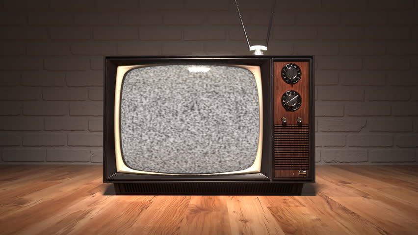 01549 Authentic Static On Old Fashioned Tv Screen At Home