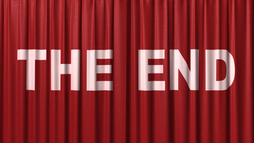 "closing red curtain with title ""the end"""