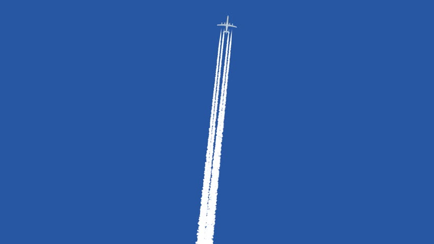 Jet airplane with trail against the blue sky