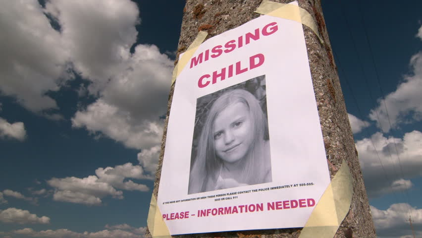 Missing Person Poster With Photo Of Child Are Posted On Pole – Missing Person Poster