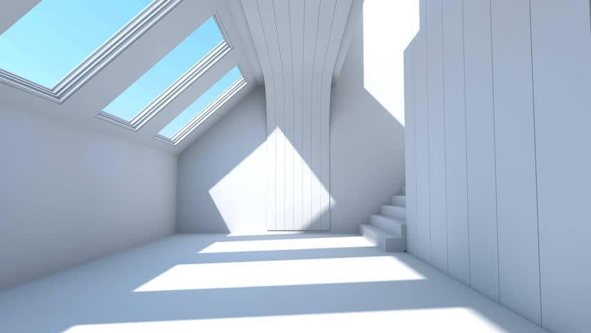 flight through modern interior and stairs. Architecture visualization