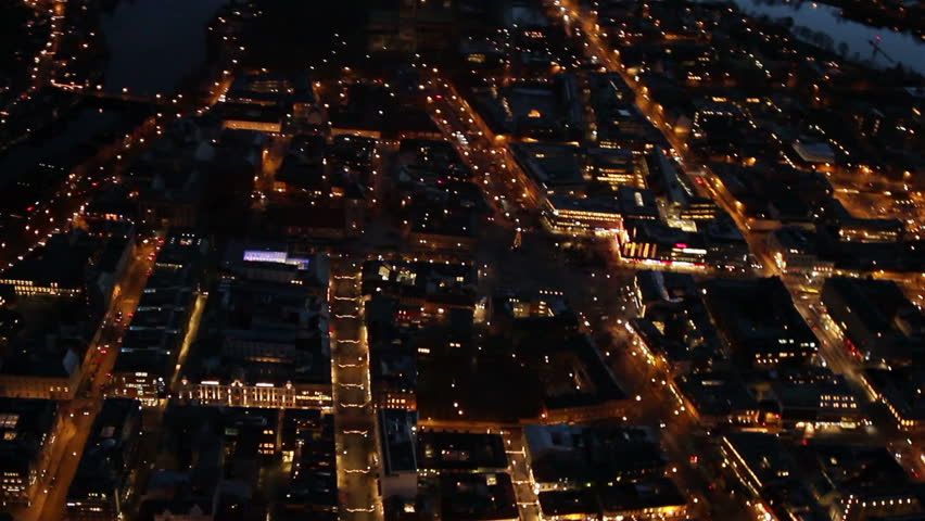 Aerial view over central Trondheim and Nidaorsdomen, in Trondheim Norway, at night. | Shutterstock HD Video #6956608