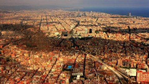 BARCELONA, SPAIN, AUGUST 2013  Aerial view over Barcelona, Spain.