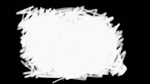 Four 5-second wipe transitions. White paint brush strokes on a black background. These hand-drawn scribbles, doodles and sketch effects can be used as Luma Mattes (alpha channels) in editing software.