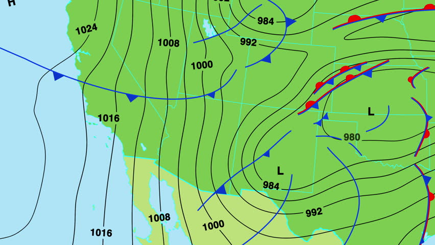 Animated Weather Forecast Map Of South West United States Of America With Isobars Cold And