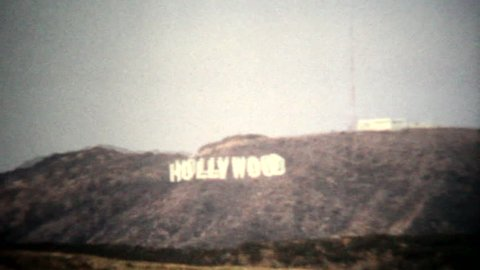 Hollywood sign taken with vintage filter 1080p 8-1-14, Hollywood, California