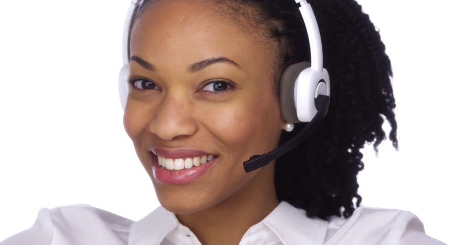 office centre video. happy black businesswoman smiling with headset 4k stock video clip office centre o