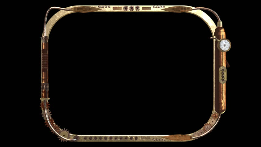 3D STEAMPUNK TV SCREEN FRAME. Ideal for Science fiction movies, TV shows, intro, news, commercials, retro, steampunk, broadcast related projects. Includes ALPHA MATTE for easy background replacement.