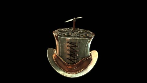 3D STEAMPUNK TOP HAT with PROPELLER. Ideal for Science fiction movies, TV shows, intro, news, fiction, retro, steampunk, fantasy related projects. Includes ALPHA MATTE for easy background replacement.