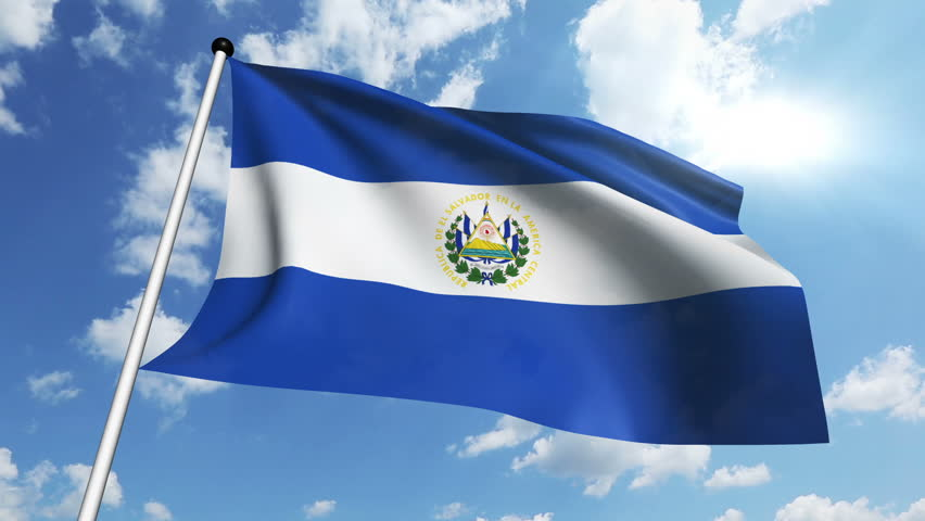 El Salvador Flag With Title Waving In The Wind. Looping ...