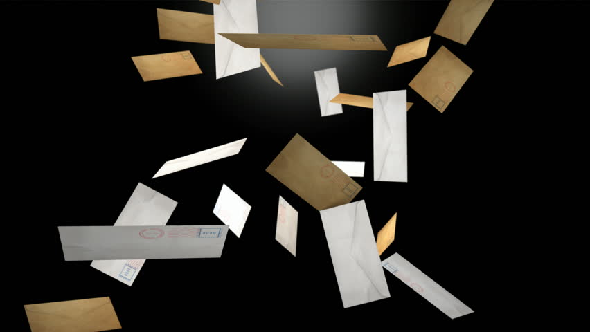 A collection of letters falling randomly down passed the camera on an isolated dark background #7020946