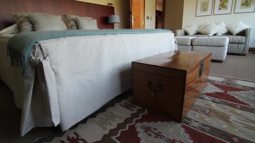 bedroom trunk. SANTIAGO  CHILE INTERIOR BEDROOM A Wooden Trunk Stands At The Foot Of Double Bed In Matrimonial Suite Showroom House