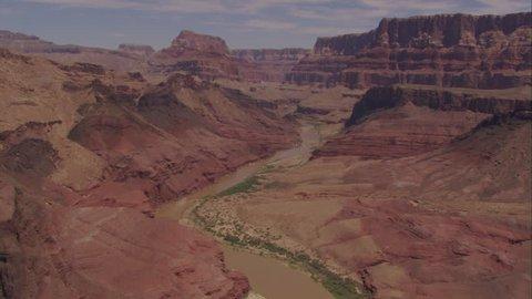 CIRCA 2010s - Aerial over the Colorado River in the Grand Canyon.