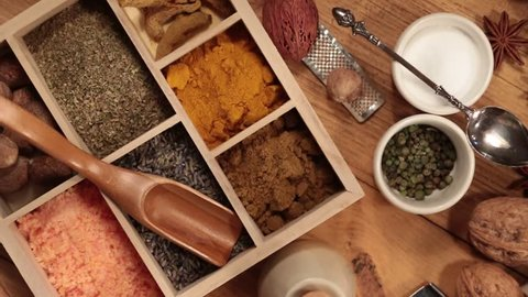Cooking Spices - Panning over a selection of spices - HD