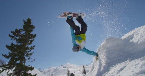 SLOW MOTION: Snowboarding handplant over the sun
