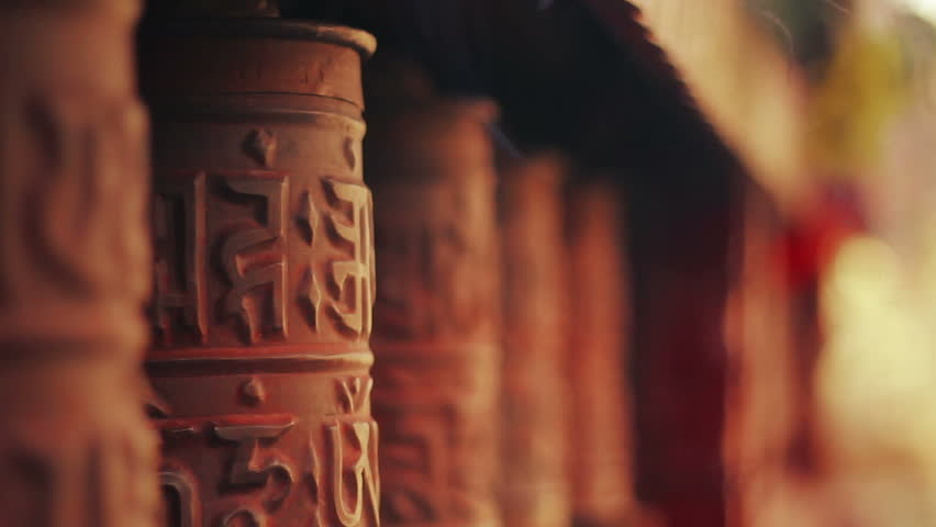 Spinning prayer wheels at the Nyingma monastery in Marpha, Mustang District, Nepal.