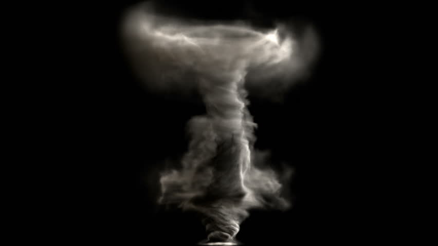 A birth of tornado, whirl, twister or whirlwind, isolated on black background, with alpha (HD, high definition 1080p, hidef, 1920x1080)